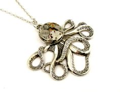 Silver Octopus Necklace  The Brainiacs Steampunk by SteamSect, $40.00