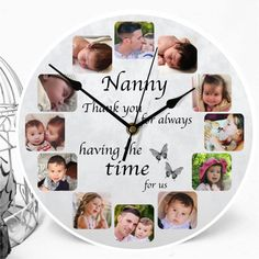 Add your favourite photos and change the text to suit, Our personalised photo clocks make the perfect gift and are ideal for Birthdays, Anniversaries, Christmas or any other special occasion, Personalized Clocks, Personalized Photo Gifts, Wall Clock With Pictures, Diy Clock, Clock Ideas, Photo Clock, Paisley Art, Candle Packaging, Time Photo