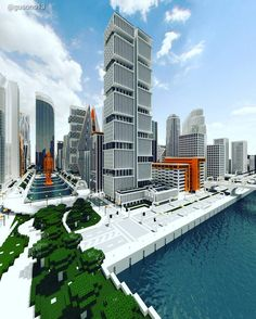 Building in the Minecraft Ono City Minecraft City, Minecraft Architecture, Skyscraper, Multi Story Building, Ideas, Skyscrapers, Thoughts