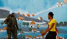 Este soldado é da missão de paz da ONU no Haiti e faz patrulha em uma favela na capital Porto Príncipe. Foto Joel Silva/Folhapress.