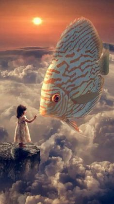 Fantasy Girl Fish Clouds Sky - Best of Wallpapers for Andriod and ios Anime Fantasy, Fantasy Girl, Fantasy Magic, Fantasy Kunst, Arte Do Sistema Solar, Regard Animal, Giant Animals, Surreal Artwork, Photo D Art