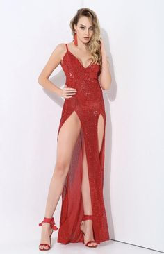 If you're looking for sequins and sparkle then you've found the right place! This red sequin maxi dress is the perfect occasion dress for the party season. This double split evening dress is an absolute stunner. Cheap Prom Dresses, Sexy Dresses, Beautiful Dresses, Nice Dresses, Sleeveless Dresses, Party Gown Dress, Party Gowns, Cute Girl Outfits, Sexy Outfits