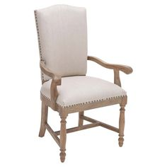 Elegant pulled up to your dining table or nestled into the living room seating group, this Chinese oak wood arm chair features nailhead-trimmed upholstery an...
