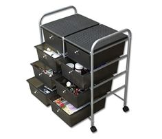 This  six drawer rolling cart is a great way to store art supplies.