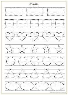 Shape Worksheets For Preschool, Nursery Worksheets, Preschool Writing, Kindergarten Math Worksheets, Tracing Worksheets, Preschool Lessons, Physical Activities For Kids, Toddler Learning Activities, Math For Kids