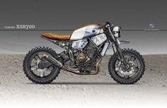 Yamaha Cafe Racer Design by Kustomeka Yamaha Cafe Racer, Scrambler Yamaha, Moto Cafe, Bobber Custom, Scrambler Custom, Tracker Motorcycle, Cafe Racer Motorcycle, Custom Street Bikes, Custom Bikes