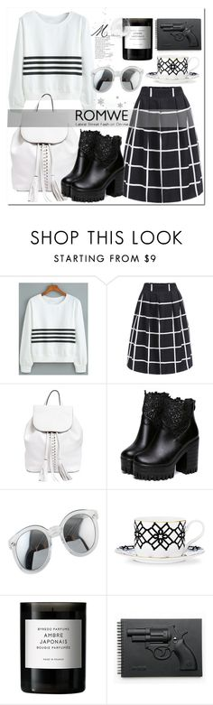 """""""Stripes with ROMWE"""" by meledo ❤ liked on Polyvore featuring Rebecca Minkoff, B by Brandie, Byredo and Revolver"""