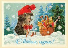 soviet new year card christmas illustration vintage postcards vintage cards merry christmas