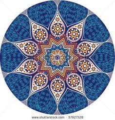 Indian ornament, kaleidoscopic floral pattern, mandala. by Markovka, via Shutterstock