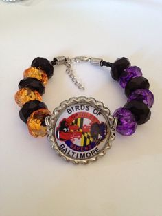 "Baltimore Ravens Orioles Beaded Leather Adjustable Bracelet with Purple, Orange & Black Beads with Birds of Baltimore Themed Pendant 8""-9"""