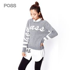 PASS Autumn Winter Women Sweater 2017 Casual Long Sleeve Letter Print O Neck Loose Sweaters Femme Cotton Fashion Clothing #PASS #sweaters #women_clothing #stylish_sweater #style #fashion