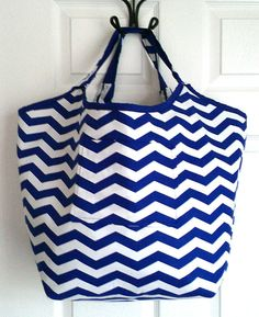 Blue and White Chevron Oversized Tote Beach by KraftsbyViktorija, $38.00