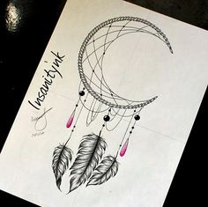 Disponible pour qui veut  #draw #drawing #sketching #tattoosketch #tattoodesign #tattooflash #tattoodraw #feather #moon #dreamcatchertattoo #dreamcatcher #beads #ornementaltattoo