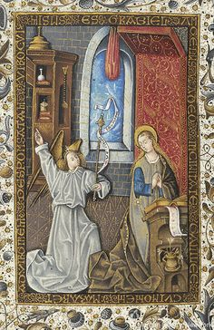 Annunciation, Spain, 1465, Book of Hours, MS M.854 fol. 53v - The Morgan Library & Museum