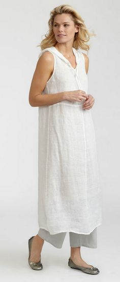 Gidget's flax apparel, linen clothing and all cotton clothing: Hoodie Dress, Sunshine Flax 2012, sun12-HoodieDress