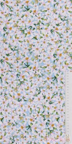 """cotton fabric in light blue with pink and white flowers and green leaves, Material: 100% cotton, Fabric Type: smooth cotton fabric, Pattern Repeat: ca. 20.5cm (8"""") #Cotton #Flower #Leaf #Plants #USAFabrics"""