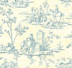 Designer Blue & Yellow French Toile Wallpaper Double Roll Bolts FREE SHIPPING #York