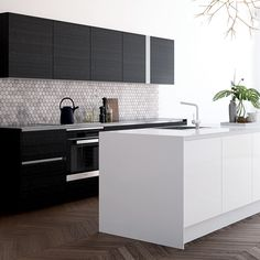 Bilderesultat for hth focus sort laminat Ecology Design, Kitchen Dinning Room, Scandi Style, Break Room, Black Kitchens, Interior Design Kitchen, Interior Ideas, Floor Design, Apartment Living