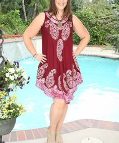Look at this #zulilyfind! Wine & Lilac Paisley Embroidered Sleeveless Dress - Plus #zulilyfinds