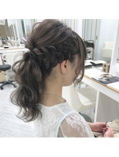 ヘアセットアンドメイクアストニッシュ(ASTONISH) 編み込みポニーテール Fries, Hair Arrange, Mori Girl, Cute Hairstyles, Medium Hair Styles, Bridal Hair, Hair Beauty, Beautiful, Hair Colors