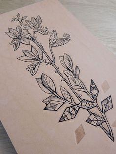 Tattooed Leather art. Geometric Flower 5 (A5 Little Leather Veneer)
