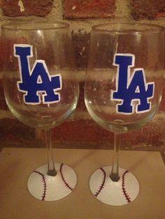 Los Angeles Dodgers Wine Glasses on Etsy, $45.00