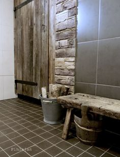 A..door..able Bathroom Toilets, Laundry In Bathroom, Rustic Bathroom Decor, Rustic Decor, Sauna Shower, Outdoor Sauna, Sauna Design, Finnish Sauna, Spa Rooms