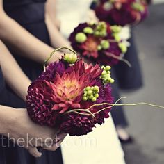 Plum and Chartreuse bouquets