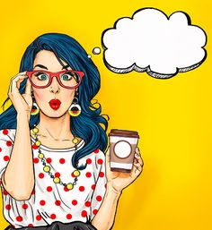 Pop Art girl with coffee cup in glasses vector art illustration Pop Art girl with coffee cup in glasses vector art illustration Art And Illustration, Comic Kunst, Comic Art, Free Vector Graphics, Vector Art, Vector Design, Comics Vintage, Pop Art Decor, Mode Pop