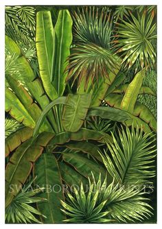 Jungle Plants Deep Green Home Plant Painting, Plant Drawing, Green Home Decor, Home Decor Wall Art, Palm Tree Print, Palm Trees, Jungle Art, Forest Art, Nature Paintings