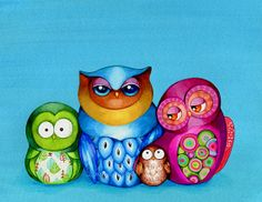 Owl Family Portrait - Giclee Print by Annya Kai - Colorful Owl Decor Turquoise Tiffany Blue Wall Art