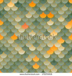 Green orange seamless background. Scale stylish background. Raster version. by E_K, via Shutterstock