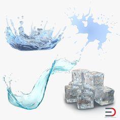 3D Model Water Ice Cube - 3D Model