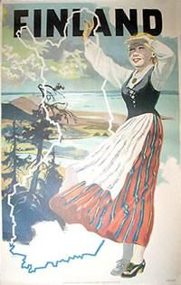 Add retro wall decor with a Finland Travel Poster for home or business. All Finland Travel Posters are tabbed on the back and ready to hang. Retro Poster, Poster Ads, Advertising Poster, Vintage Travel Posters, Vintage Postcards, Poster Prints, Pub Vintage, Photo Vintage, Vintage Films