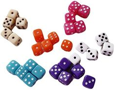 Custom & Unique {Mini Tiny Small 5mm} 30 Ct Pack Set of 6 Sided [D6] Square Cube Shape Playing & Game Dice w/ Classy Card & Board Game Simple Design [Pink, Purple, Orange, Tan, Teal & White Assorted]
