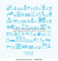 Furniture and home decor icon set in modern flat style drawing with light blue lines on white background