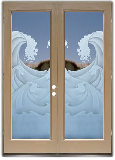 High Seas 3D - Double Entry Doors Hand-crafted, sandblast frosted and 3D carved.  Available as interior or entry door in 8 woods and 2 fiberglass. Slab door or prehung any size, or as glass insert only.  Our fun, easy to use online Glass and Door Designer gives you instant pricing as YOU customize your door and glass!  When you're all finished designing, you can place your order right there online!  Doors ship worldwide from Palm Desert, CA