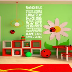 KIDS WALL DECAL Playroom Rules Decor Art Sign for Childs, Childrens, Kids,Kid, Girls, Boys room. $39.99, via Etsy.