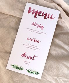 Custom Brush Calligraphy Menu for Burgundy Wedding