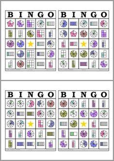 Bingo de Fracciones Math Bingo, Math Games, Math Activities, Fraction Activities, School Resources, Math Resources, Fraction Games, Primary Maths, Third Grade Math