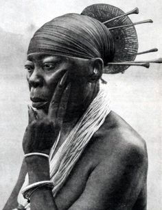 Mangbetu Queen Nenzima of the people of Congo.  From the Secret Museum of Mankind Volume 2. Published 1935