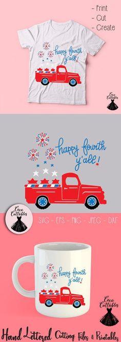 Happy Fourth Yall SVG, Fourth of July Svg, Truck Svg, 4th July SVG Cut files, July 4th Svg for Cricut Silhouette, Png Eps Svg Jpeg Dxf, Instant Download, Commercial Use. #cricutideas #cricutprojects #silhouette #silhouetteideas #silhouetteprojects #craftingideas #vintageredtrucksvg #holidaysvg #americasvg #usasvg #fourthofjulysvg