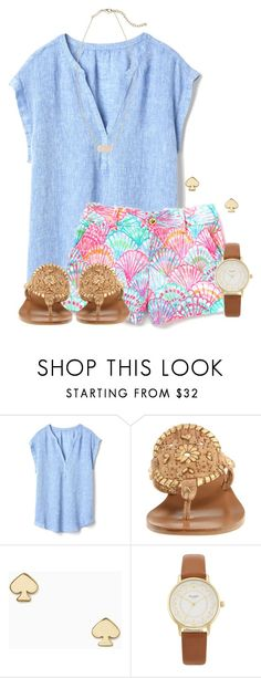 """""""Had a little extra time so I straightened my hair"""" by flroasburn ❤ liked on Polyvore featuring Gap, Jack Rogers, Kate Spade and Kendra Scott"""