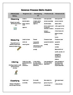Worksheets Science Skills Worksheet teaching science and on pinterest process skills rubric for elementary grades