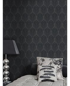 This stylish Charcoal Gatsby Art Deco Glitter Wallpaper features a retro pattern with a modern twist. Free UK delivery available