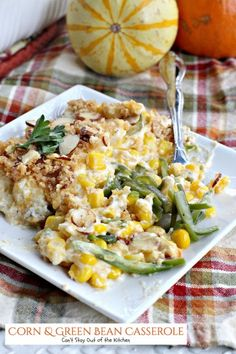 Corn and Green Bean Casserole. This wonderful #casserole has a creamy, cheesy filling and a crunchy #Ritzcrackers and #almond topping.