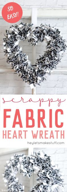 This scrappy fabric heart wreath took me less than an hour to make! The perfect easy nap time project that's perfect for Valentine's Day or any time of the year.