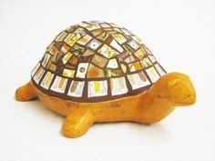Mosaic Turtle Pumpkin Orange Vintage Retro by CalicoSkiesMosaics, $85.00
