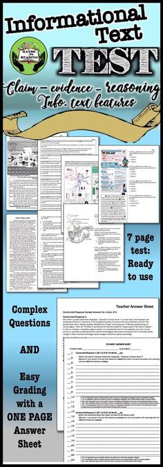 AN EASY TO GRADE 7 PAGE ASSESSMENT ON NONFICTION GENRES, INFORMATIVE TEXT FEATURES, AND ARGUMENTATIVE CONSTRUCTED RESPONSE FOR THE SECONDARY CLASSROOM with 24 multiple choice questions and 2 constructed response items. $2.00