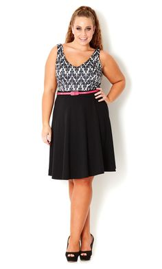 Plus Size Monotone Swing Dress - City Chic - City Chic